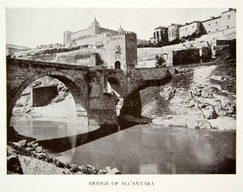 1907-print-targus-river-bridge-alcantara-toledo-spain-puente-trajan-roman-stone-original-halftone-pr