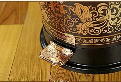 滑らかな表面 レトロスタイルのゴミ箱可能な金属フローラルプリントペダルゴミ箱ヴィラクラブハウスリビングルームのベッドルームのゴミ箱プラスチックインナーバケット リサイクル可能なデザイン (Color : Black, Size : 8L)