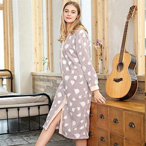 Soft camicia maniche Touch in Light notte Button da lunghe Light pile DDOQ large a Grey coral Grey lovely pigiama vestaglia df8dwq