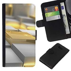 Planetar® Modelo colorido cuero carpeta tirón caso cubierta piel Holster Funda protección Samsung ALPHA G850 ( Gold Yellow Polygon Art 3D Plastic Fire )