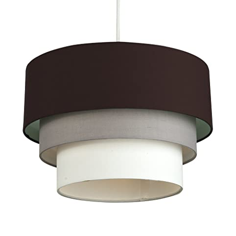 Beautiful round modern 3 tier brown grey and white fabric ceiling beautiful round modern 3 tier brown grey and white fabric ceiling designer pendant lamp light mozeypictures Choice Image