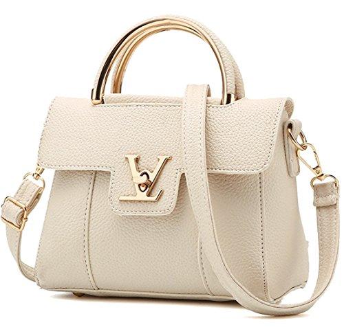 cartera Rosa rosa Seaoeey mujer estilo Large Bolso Crema Blanco para q7wxxZEpnO