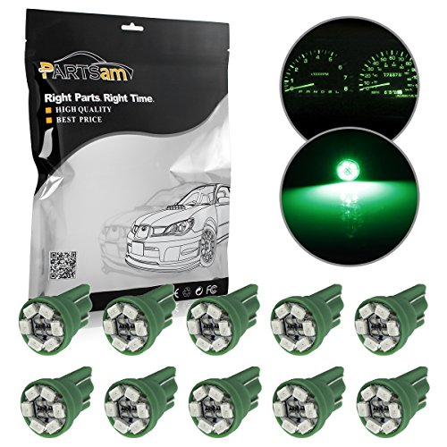 Partsam 10x T10 Wedge 168 194 W5W 2825 Green Instrument Gauge Cluster Panel LED Light Bulbs (Ford Ranger Gauge Led compare prices)