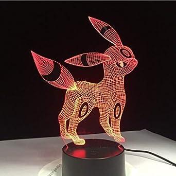 Pokemon Umbreon 3D Lamp Acrylic LED Night Light 7 Color USB Touch Lamp Xmas Gift