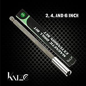 """Katzco Magnetic Bit Holder Extension - 3 Piece Set - 2"""", 4"""", 6"""" Extensions For Quick Change - 1/4"""" Hex Shank Heavy-Duty - Screws, Nuts, Drills, Handheld Drivers, Tool Box & Construction (Color: silver, Tamaño: Magnetic Drill Bit Holder Extension)"""