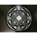 """30"""" Mother of Peals Coffee Table Side Table End Table Patio Garden Table Sofa Table Round Shape Stones Inaidl"""