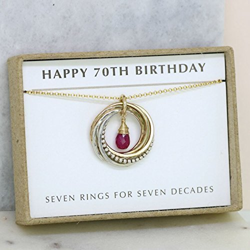 0b31d1c0e Amazon.com: 70th birthday gift, July birthstone jewelry, ruby necklace for  70th - Lilia: Handmade