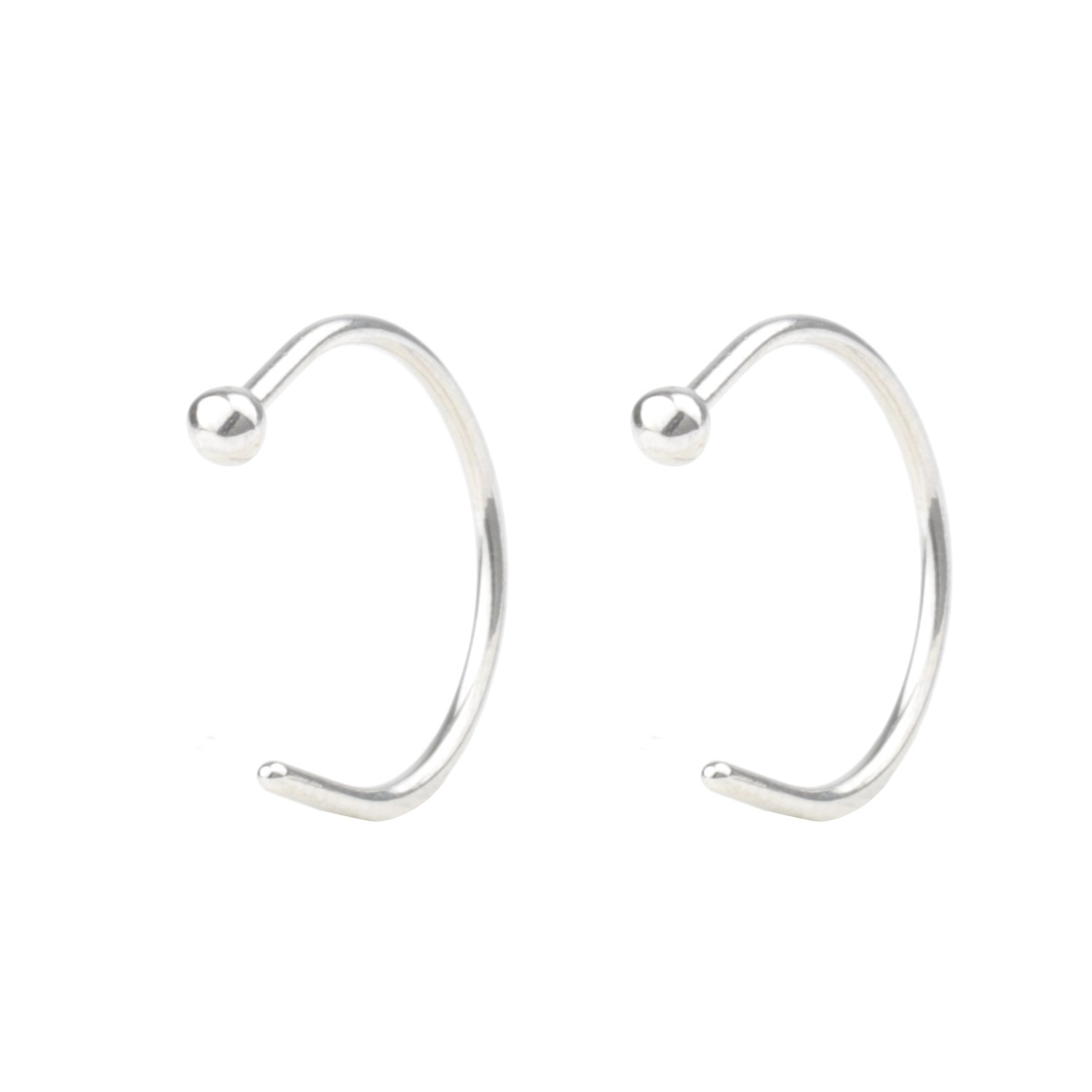DRM 2-4pcs 18G Stainless Steel Earrings Nose Hoop Nose Ring Body Jewelry Piercing 2mm Ball 8mm