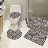 jwchijimwyc India 3 Piece Toilet mat set Bohemian Indian Ethnic Vintage Henna Inspired Boho Mehndi Art Printed Marigold Red Blue White and Black