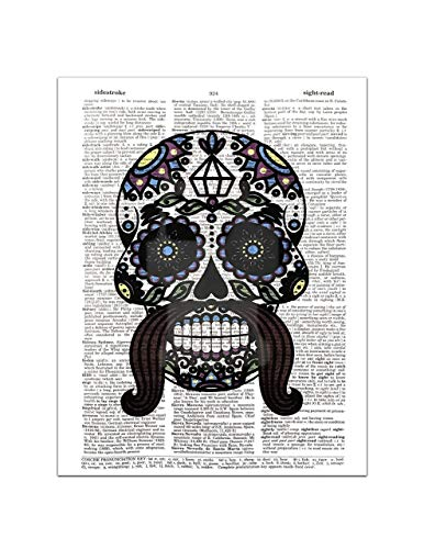 (Sugar Skull (#2) Male - Day of the Dead - Halloween - Dictionary Page Art Print, 8x11)
