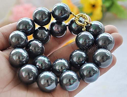 FidgetKute Rare Huge 8-20mm Genuine Rainbow Black South Sea Shell Pearl Necklace 18