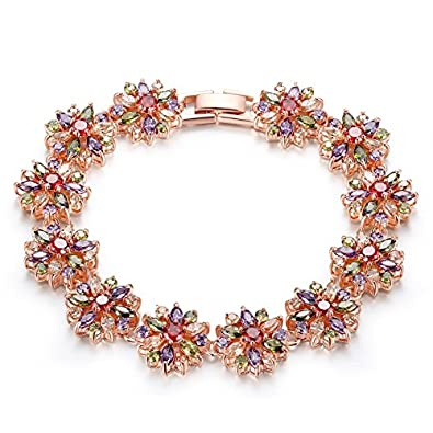 Rolicia Treasures String Gold Plate Multi Color Czech Crystal 19 +5 cm Bracelet Bangle Link for Your Love eBuhK3X