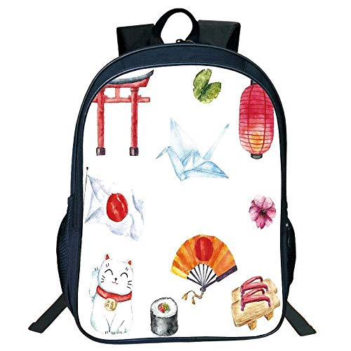 DKFDS Backpacks Unisex School Students Black Japanese,Hand Drawn Traditional s Watercolors Torii Gate Origami Bird Flag Lacky Cat,Multicolor Kids,