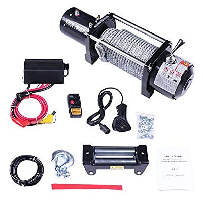 SCITOO Winch, 12V Electric Winches with Roller Fairlead Electric Steel Cable Winch Kit,with Wireless Remote Control for Towing Jeep/SUV Boat Off Road,10000 LBS