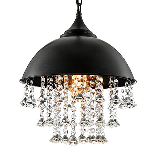 BAYCHEER Crystal Pendant Lighting Vintage Style Iron Shaded Glittering Large Beads Hanging Lamp Chandelier with 1 E26 Bulb Socket, Black