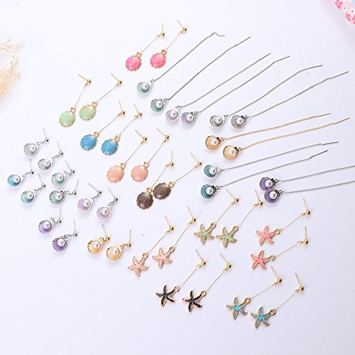 The new shell pearl earrings ear wire earrings long section of seashells starfish earrings wholesale simple earrings cute girls