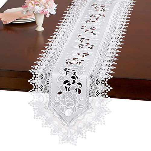 - Collections Etc Elegant Floral Rose and Lace Embroidered Table Linens, White, Runner