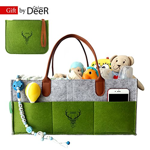 Image of the CalmDeeR, Baby Diaper Caddy   Nursery Diaper Tote Bag   Baby Shower Gift Basket   Large Portable Car Travel Organizer   Boy Girl Diaper Storage Bin for Changing Table   Newborn Registry Must Have