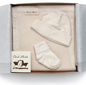 Cherub's Blanket Organic Take Me Home Set- Newborn Layette - Receiving Blanket, Hat, Tiny Socks - Made in the USA