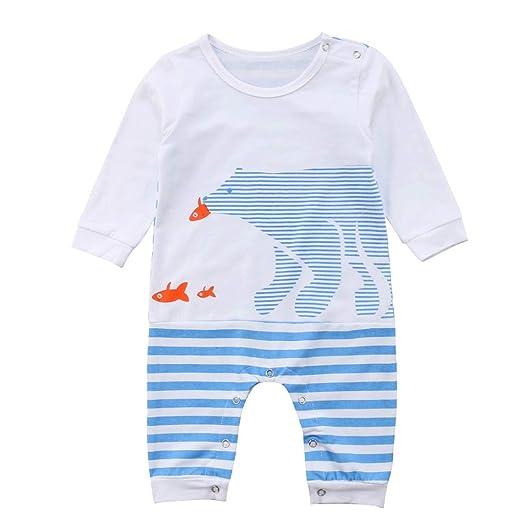 2e5b2eb5ac54 Amazon.com  Baby Boys Girls Long Sleeve Striped Polar Bear Animal ...