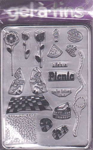 Gel-a-tins Picnic Invite 18 Clear Rubber Stamps & Tin Case