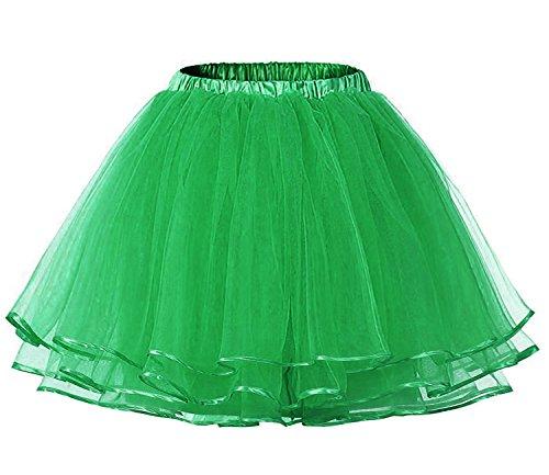 [Lamgo Women's Vintage Petticoat Tutu Skirt Crinoline Dance Slip Underskirt Lime Green Medium] (80s Themed Outfits)