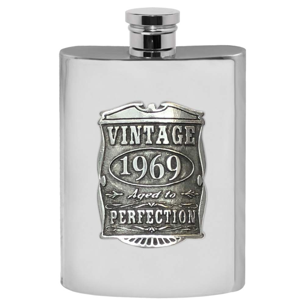 English Pewter Company Vintage Years 1969 50th Birthday or Anniversary Pewter Liquor Hip Flask - Unique Gift Idea For Men [VIN017]
