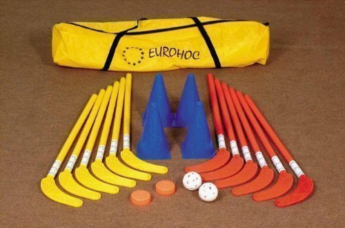 EUrohoc Club Senior Indoor Hockey Complete Set Sticks Pucks Balls & Bag (Hockey Bag Senior Stick)