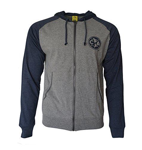 Club America Hoodie lightweigh Fz Summer Light Zip up Jacket Grey Adults (Grey, XL)