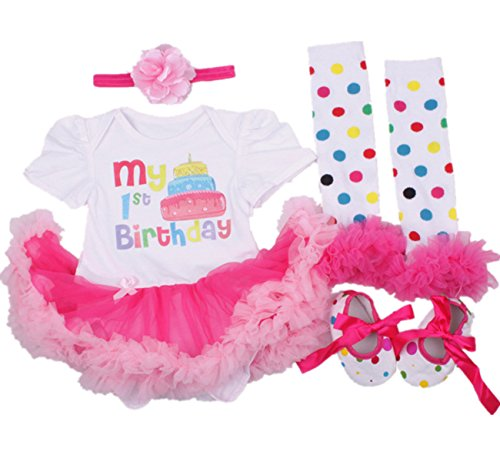 AISHIONY 4PCS Baby Girl 1st Birthday Tutu Onesie Outfit Newborn Party Dress L -