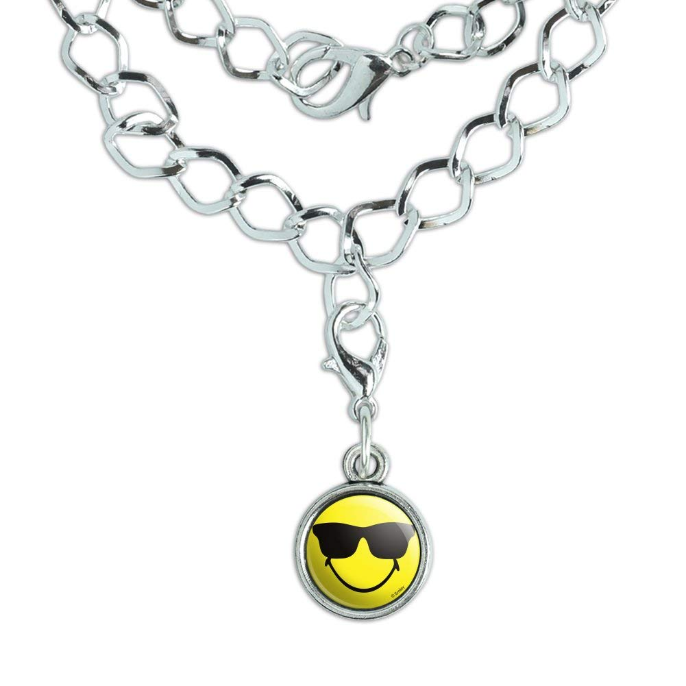 GRAPHICS /& MORE Smiley Smile Happy Sunglasses Yellow Face Silver Plated Bracelet with Antiqued Charm