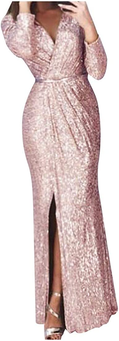 Womens Sparkling Dress High Slit Ruched Wrap Long Cocktail Evening Gown for Annual Dinner Party
