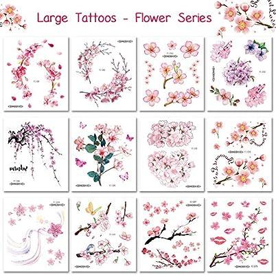 Bibivisa 12 Hojas Grande Flor Tatuajes temporales - Sexy Arte ...
