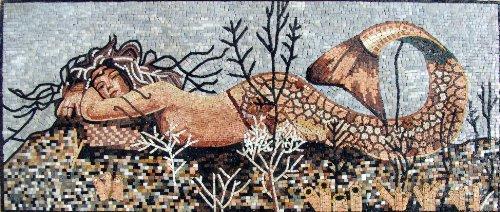 Mermaid Mosaic Art Tile Mural Wall - Scene Mural Mosaic Tile Art