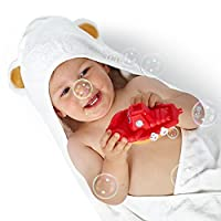 Luxury Hooded Baby Towel and Washcloth Set (White) | Extra Soft Bamboo for In...