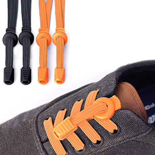 - No Tie Shoelaces for Kids,Tieless Shoelaces for Sneakers,Stretch Elastic Flat Shoe Laces for Adults Shoes[2pack] Black/Orange
