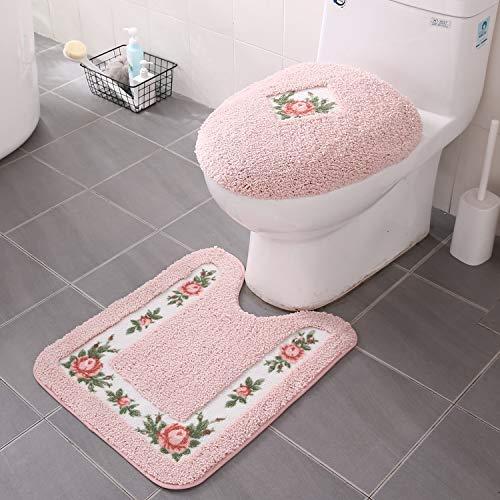 "JSJ_CHENG Non-Slip Pink Rose Floral Bathroom Shower Toilet Rugs and Mats Set of 2pcs U Shape Contour 19.6"" x 23.6"" + lid Cover"