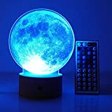 3D Led Night Light Remote Control Table Desk Lamps,Elstey 20 Color Changing Optical Illusions Lamp Acrylic Panel & Wooden Base Light for Holiday Gifts (Moon)