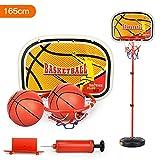 Qiyun Children Inside and Outside Portable Adjustable Basketball Backboard Stand Hoop Set with A Basketball