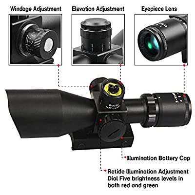 Tactical AR15 Rifle Scopes 3-9x40 with Red Green Illuminated Mil-dot Reticle for Outdoor Hunting