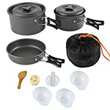 ARAER Camping Cookset,10pcs:2-3 Person/16pcs:4-5 Person Mess Kit with Non-Stick Aluminum Pot Pan, BPA-Free Bowls/Plates and Nylon Bag, Perfect for Camping, Hiking, Travel, Backpacking, Picnic