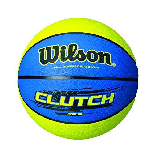 "Wilson Clutch Basketball, Blue/Lime, Intermediate - 28.5"""