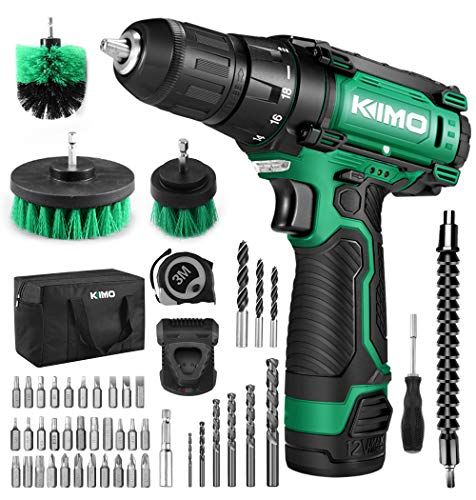 Cordless Drill/Driver Kit, 48pcs Drill Set w/Lithium-Ion Battery Brushes Tape Measure – 12V Max Drill 280 In-lb Torque, 18+1 Metal Clutch, 3/8″ Keyless Chuck, Built-in LED – Wood Bricks Walls Metal