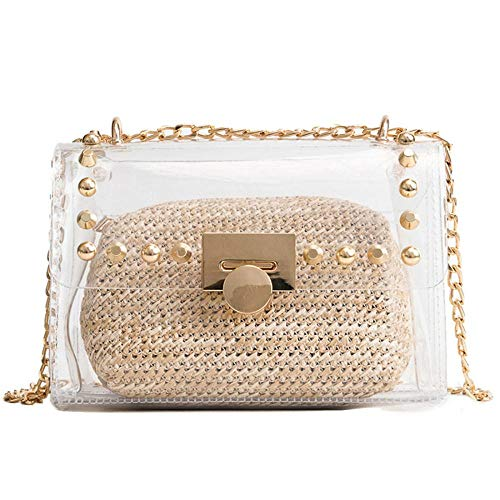 Clear Purse Shoulder Bag for Women, Transparent PVC Handbag, Waterproof Chain Crossbody Bag Set (Khaki)