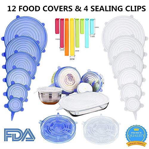Silicone Stretch Food Covers Lids - Various Sizes Reusable Durable and Expandable Containers Preservative Wrappers for Fruits & Vegetables or Cups, Bowls, Mugs, Dishes and Cans (BLUE+WHITE)