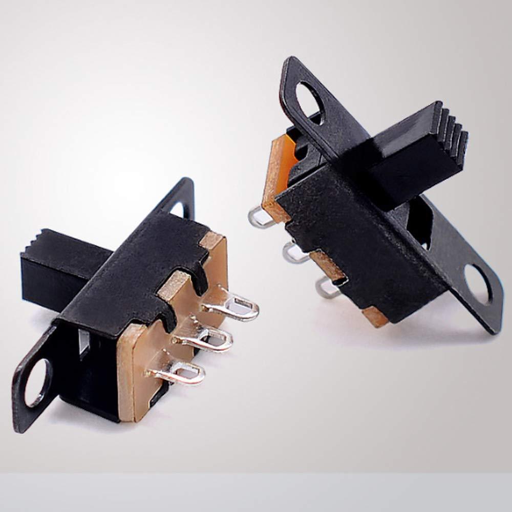 Micro Rast Kippschalter SS12F15 Gebildet 100 St/ücke Mini Schiebeschalter 3 Pin 2 Positionen 0.5A 50V DC SPDT ON//ON Einbauschalter-Set zum Schwei/ßen von Mini-Gleitplatten