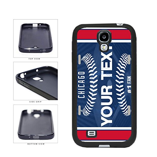 BleuReign(TM) Personalized Custom Name Baseball Chicago Blue License Plate TPU RUBBER SILICONE Phone Case Back Cover For Samsung Galaxy S4
