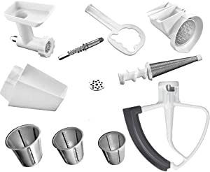 KitchenAid DRTVICE4 (FGA+RVSA+FVSP+KFE5T) Stand Mixer Attachment Pack Food Grinder/Fruit Vegetable Strainer/Rotor Slicer Shredder/Flex Edge Beater