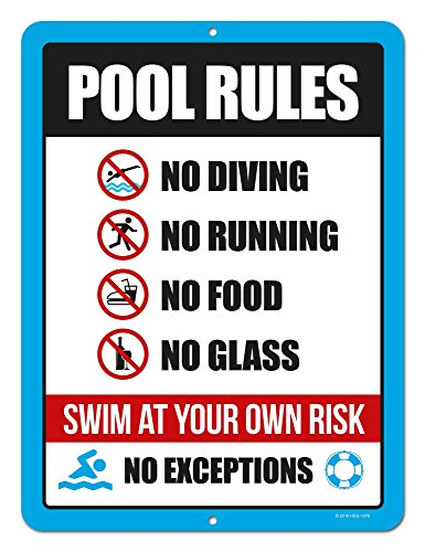 Honey Dew Gifts Pool Signs, Swimming Pool Rule Sign, 9 x 12 inch Tin Sign Decor, Pool Signs and Decor