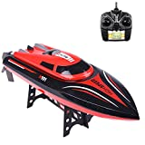 Fisca RC Boat High Speed Remote Control Electric Racing Boat 25KMH 15MPH 2.4GHz 4CH Automatically Flips Transmitter with LCD Screen